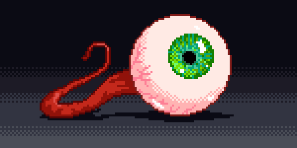 A detached pixel eyeball