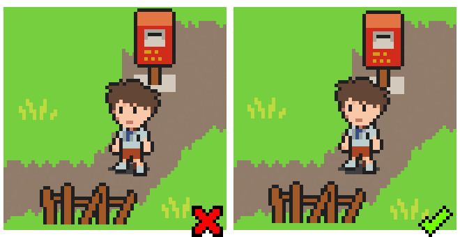 A comparison of sprites not aligned to a grid, and aligned correctly